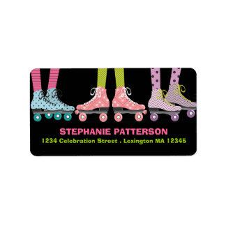 Funky Girls Roller Skating Address Labels