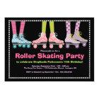 Funky Girls Roller Skating Birthday Party Card