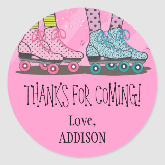 Funky Girls Roller Skating Favor Stickers