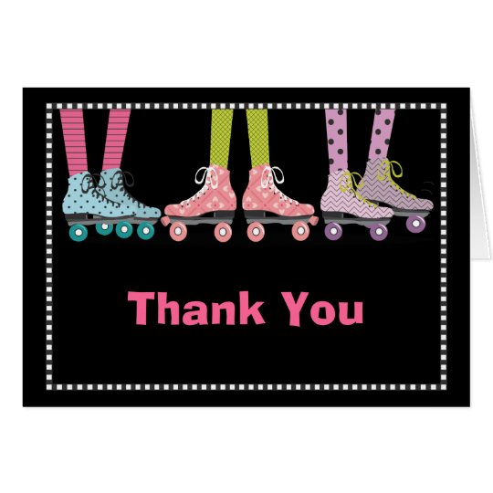 Funky Girls Roller Skating Thank You Notecard