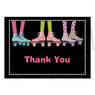 Funky Girls Roller Skating Thank You Notecard Note Card