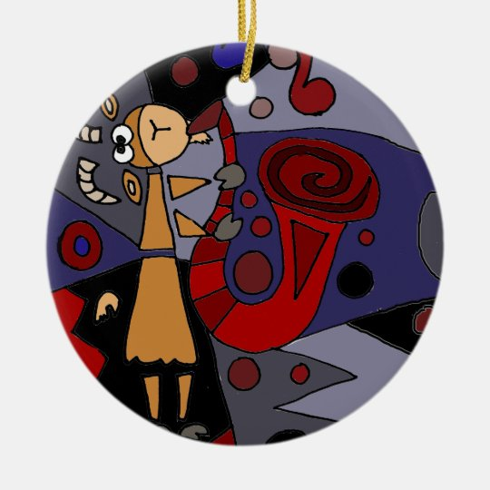 Funky Goat Playing Red Saxophone Art Christmas Ornament