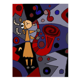 Funky Goat Playing Red Saxophone Art Postcard