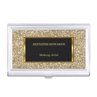 Funky Gold golden Glitter stylish professional Business Card Holder