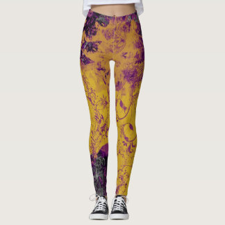 Funky Gothic Purple and Gold Leggings
