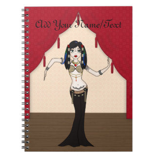 Funky Gothic Tribal Fusion Bellydancer Cartoon Notebook