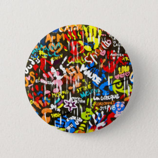 funky graffitis 6 cm round badge