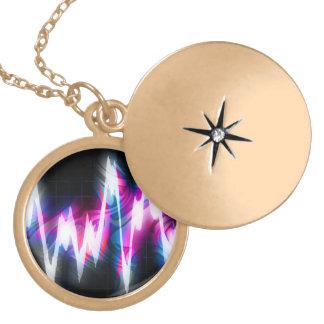 Funky Graphic EQ Audio Waveform Round Locket Necklace