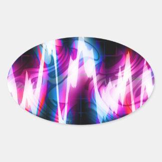 Funky Graphic EQ Audio Waveform Oval Sticker