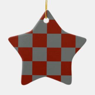 Funky Gray Burgundy Blocks Christmas Ornament