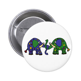 Funky Green and Blue Spotted Elephants 6 Cm Round Badge
