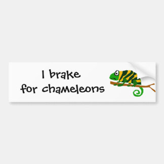 Funky Green and Yellow Chameleon Lizard Art Bumper Sticker