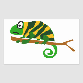 Funky Green and Yellow Chameleon Lizard Art Rectangular Sticker