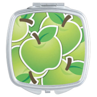 Funky green apples compact mirror