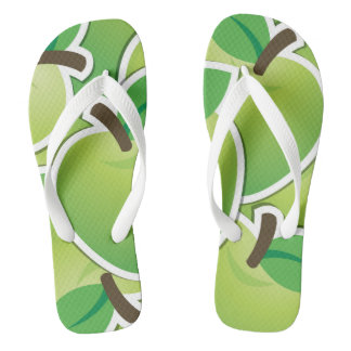 Funky green apples flip flops