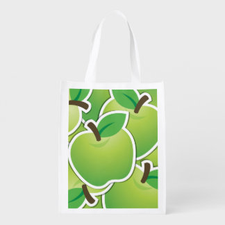 Funky green apples reusable grocery bag
