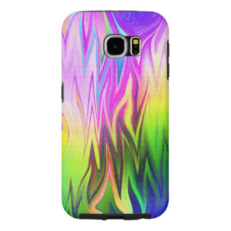 Funky Green Blue and Pink Flames Fractal Art Samsung Galaxy S6 Cases