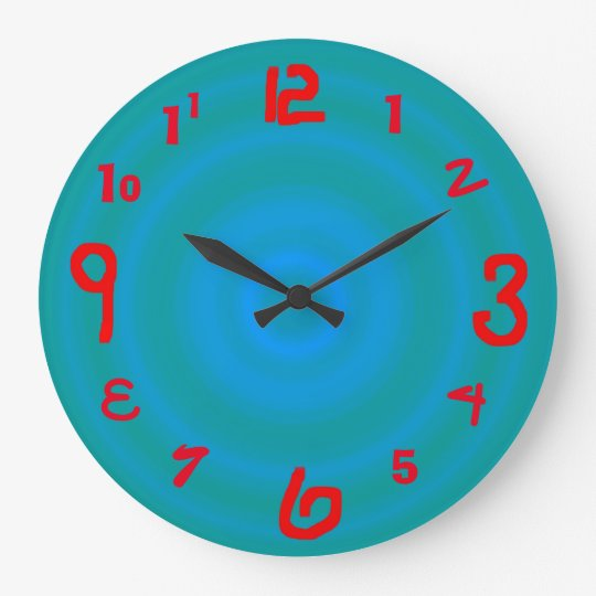 Funky Green Blue with Red Numerals > Wall