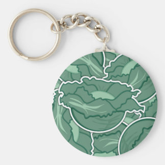 Funky green cabbage basic round button key ring