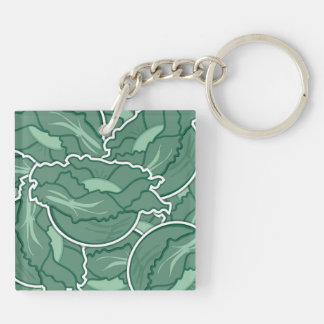 Funky green cabbage Double-Sided square acrylic key ring