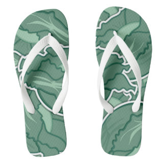 Funky green cabbage flip flops