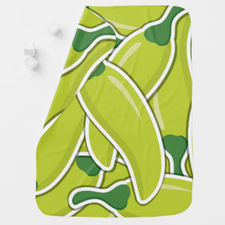 Funky green chilli peppers baby blanket