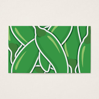 Funky green chilli peppers business card