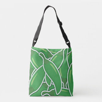 Funky green chilli peppers crossbody bag