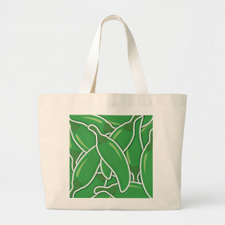 Funky green chilli peppers large tote bag