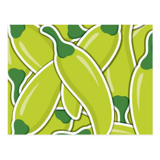 Funky green chilli peppers postcard