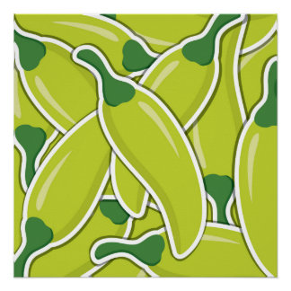 Funky green chilli peppers poster