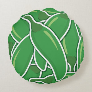 Funky green chilli peppers round cushion