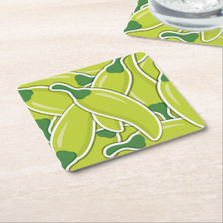 Funky green chilli peppers square paper coaster