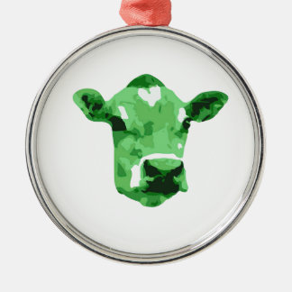 Funky green cow Silver-Colored round decoration