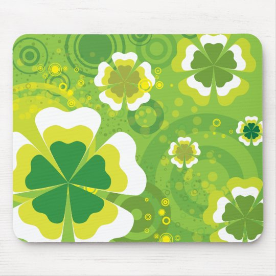 Funky Green Flowers Mouse Pad