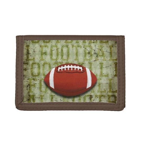 Funky Green Grunge Football Tri-fold Wallet