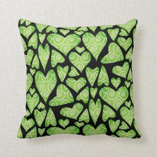 Funky Green Hearts on Black Cushions