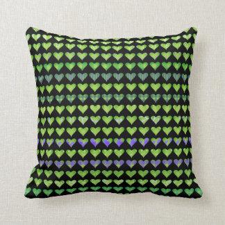 Funky Green Hearts on Black Throw Cushion
