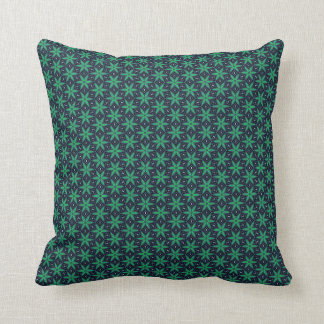 Funky green & navy star pattern pillow cushion