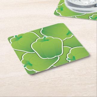 Funky green pepper square paper coaster