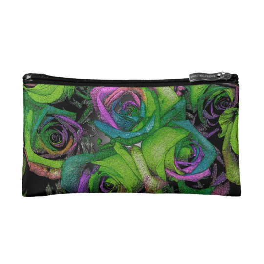 Funky Green & Purple Roses Cosmetic Bag