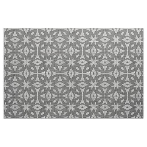 Funky Grey Faux Batik Linen Squares Pattern Fabric