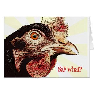 Funky Grumpy Chicken Superstar Greeting Card