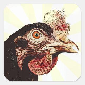 Funky Grumpy Chicken Superstar Square Sticker