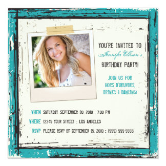 Funky Grunge Birthday Party Invitation (aqua)