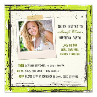 Funky Grunge Birthday Party Invitation lime