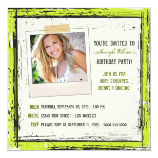 Funky Grunge Birthday Party Invitation (lime)