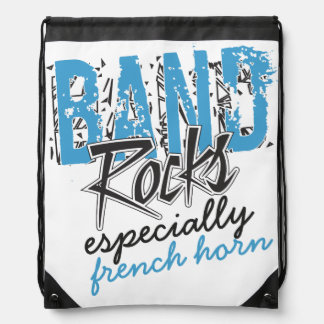 Funky Grunge French Horn Funny Marching Band Rocks Drawstring Bag