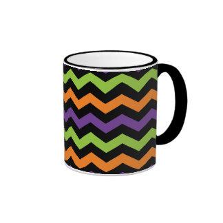 Funky Halloween ZigZag Purple Orange Green Patter Coffee Mugs