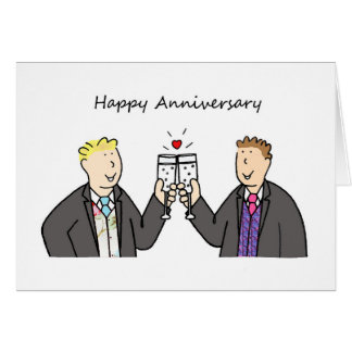 Funky Happy Anniversary for two gay males. Card